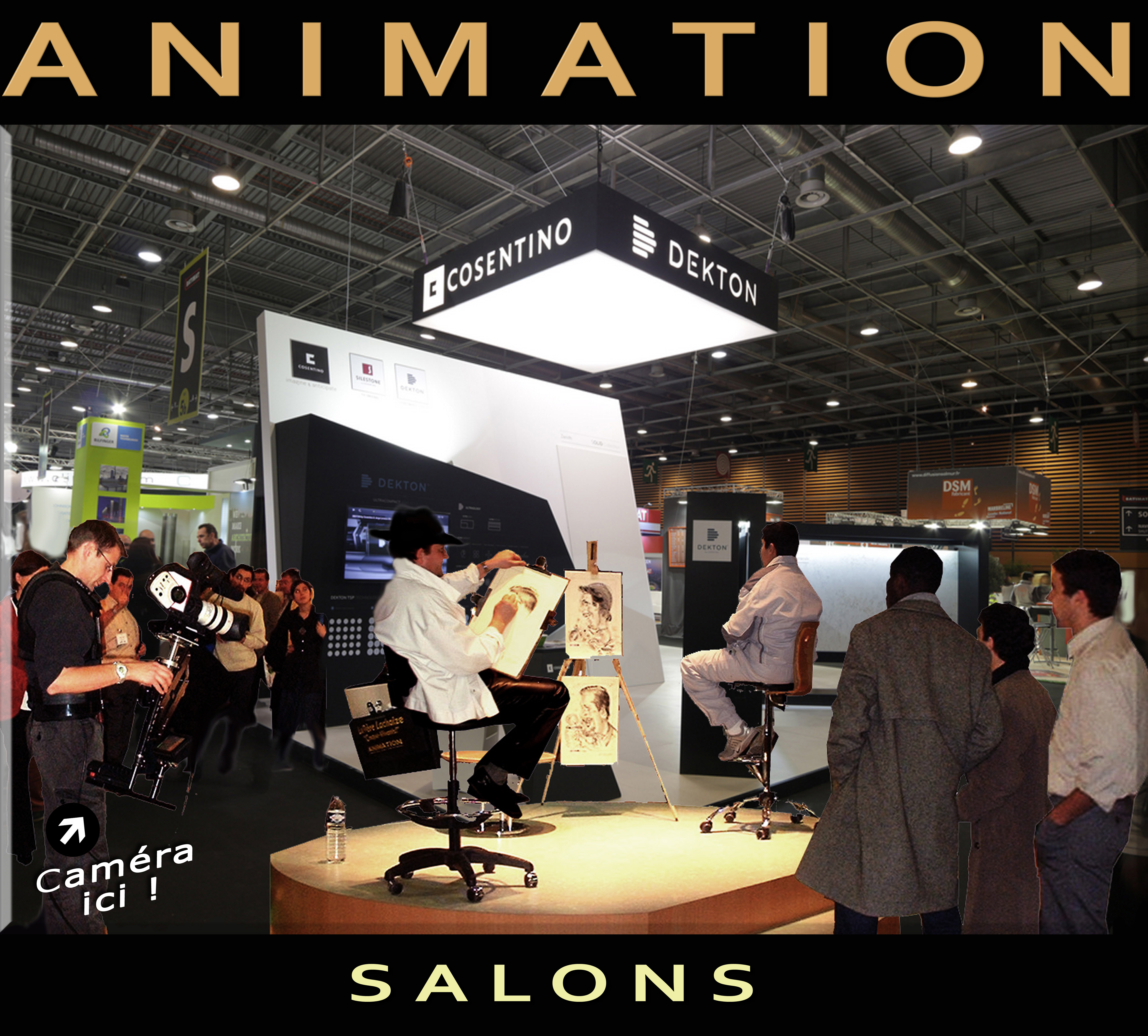 Caricaturiste le p re lachaize salons for Animation stand salon